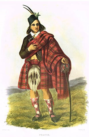 "Clans & Tartans of Scotland by McIan - ""FRASER"" - Lithograph -1988"