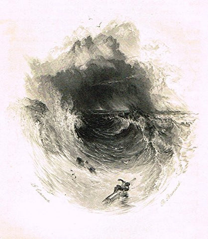 "Cattermole's 'Haddon Hall' - ""DIMANTELED VESSEL IN A STORM"" - Miniature Steel Engraving - 1860"
