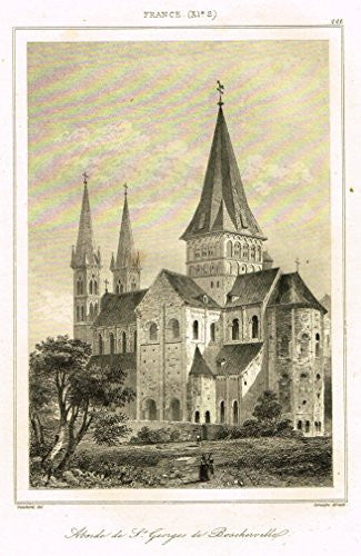 "Bas's France Encyclopedique - ""ABSIDE DE ST. GEORGES DE BOSCHERVILLE"" - Steel Engraving - 1841"