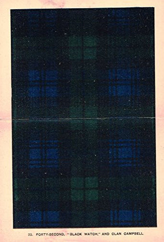 "Johnston's Scottish Tartans - ""BLACK WATCH"" - Chromolithograph - c1899"