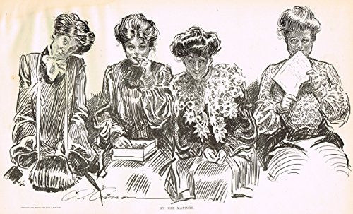 "The Gibson Book - ""AT THE MATINEE"" - Lithograph - 1907"