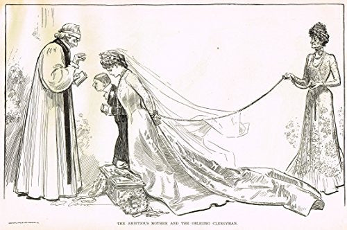"The Gibson Book - ""AMBITIOUS MOTHER AND THE CLERGYMAN"" - Lithograph - 1907"