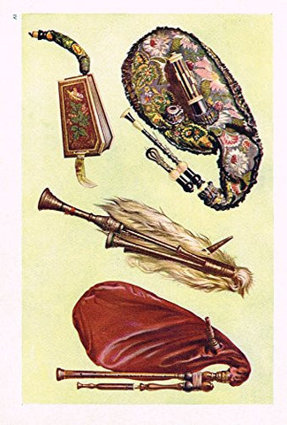 "Hipkins Musical Instruments - ""Bagpipes"" - Stipple Chromolithograph - 1923"