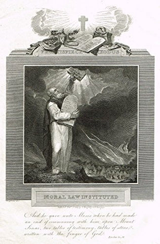 "Blomfield's Impartial Expsitor & Bible - ""FRONTISPIECE - MORAL LAW INSTITUTED"" - Engraving - 1815"