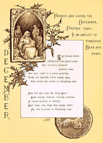 "Mary A. Lathbury's Monthly Poems - ""DECEMBER POEM"" - Tinted Chromolithograph - 1885"