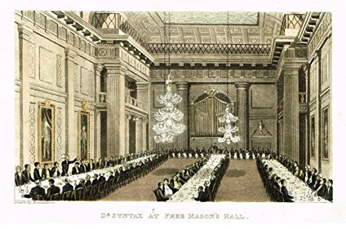 "Rowlandson's Dr. Syntax - ""DR. SYNTAX AT FREE MASON'S HALL"" - Aquatint - 1820"