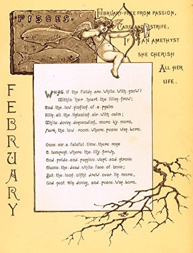 "Mary A. Lathbury's Monthly Poems - ""FEBRUARY POEM"" - Tinted Chromolithograph - 1885"