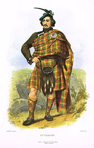 "Clans & Tartans of Scotland by McIan - ""BUCHANAN"" - Lithograph -1988"