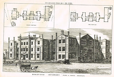 "Building News' - ""BRADFORD INFIRMARY"" - Lithograph - 1885"
