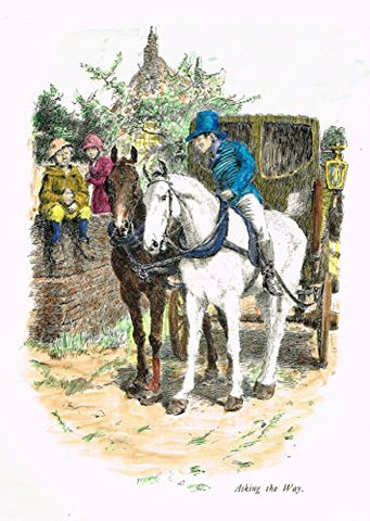 "Tristram's Coaching Ways - ""ASKING THE WAY"" - Hand-Colored Lithograph - 1888"