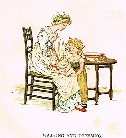 Kate Greenaway's Little Ann - WASHING & DRESSING - Chromolithograph - 1883