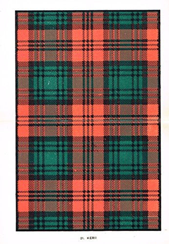 "Johnston's Scottish Tartans - ""KERR"" - Chromolithograph - c1899"