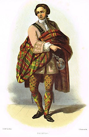 "Clans & Tartans of Scotland by McIan - ""OGILVIE"" - Lithograph -1988"