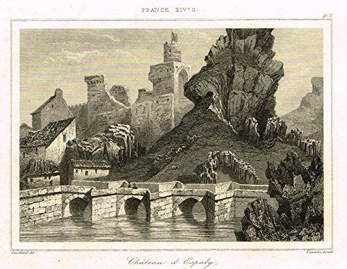"Bas's France Encyclopedique - ""CHATEAU D'ESPALY "" - Steel Engraving - 1841"