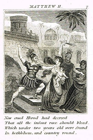 "Miller's Scripture History - ""HEROD KILLS JEWISH MALE INFANTS - MATTHEW II"" - Engraving - 1839"