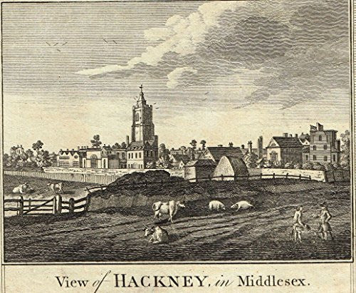 "Hogg's ""VIEW OF HACKNEY IN MIDDLESEX"" - Copper Engraving - c1770"