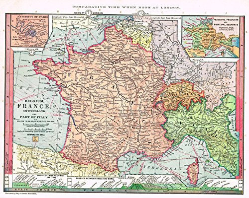 "Barnes's Geography - ""BELGIUM, FRANCE & SWITZERLAND"" Chromolithographic Map by Monteith -1875"
