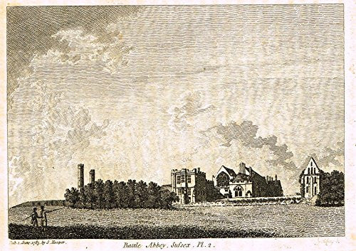 "Grose's Antiquities of England - ""BATTLE ABBEY, SUSSEX"" - Copper Engraving - c1885"