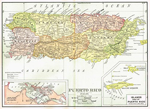 History of Our Country - Map - PUERTO RICO - Chromolithograph - 1899
