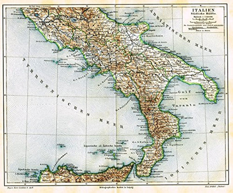"Meyers' Lexicon Map - ""ITALY - SOUTHERN HALF"" - Chromolithograph - 1913"