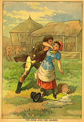 "Children's Print - ""THE MAN AND THE MAIDEN"" - Chromolithograph - 1922"