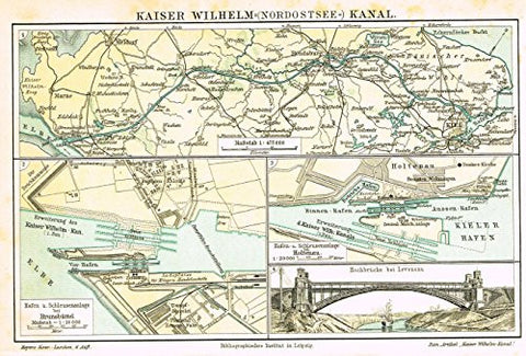 "Meyers' Lexicon Map - ""KAISER WILHELM CANAL"" - Chromolithograph - 1913"