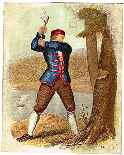 Miniature by W.Dickes - NORWEGIAN MAN CUTTING WOOD - Hand-Colored Engraving - 1809
