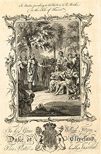 "Duke of Cleveland ""ST. AUSTIN PREACHING TO KING ETHELBERT"" - Copper Engraving - 1760"