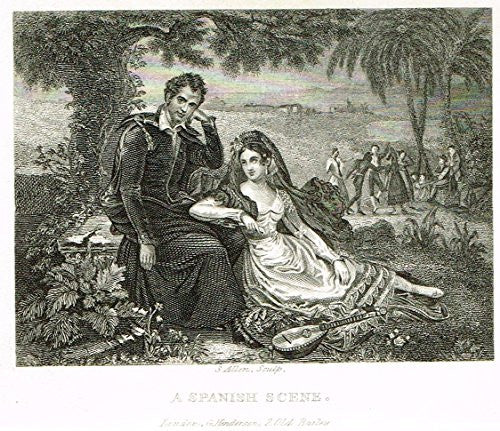 Miniature Print - A SPANISH SCENE by Allen - Steel Engraving - c1850