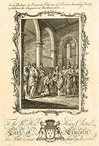 "Earl of Lincoln ""BISHOPS SWEARING FEALTY TO WILLIAM THE CONQUEROR"" - Copper Engraving - 1760"