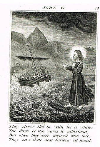 "Miller's Scripture History - ""JESUS CALMS THE RAGING SEA"" - Small Religious Copper Engraving - 1839"