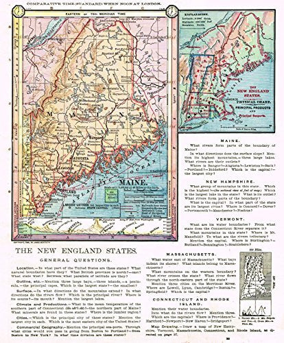 "Barnes's Geography - ""MAINE"" & New England Map by Monteith -1875"