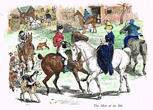 "Tristram's Coaching Ways - ""THE MEET AT THE INN"" - Hand-Colored Lithograph - 1888"
