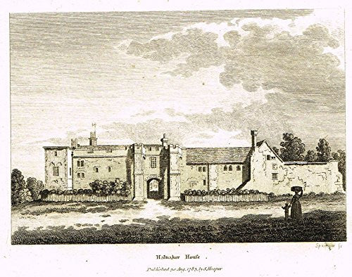 "Grose's Antiquities of England - ""HALNAKER HOUSE"" - Copper Engraving - c1885"