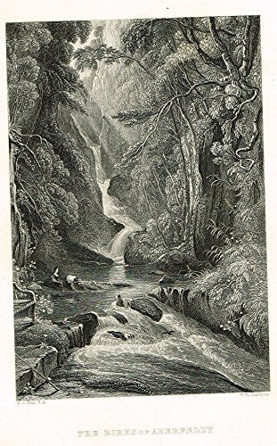 "Scotish Robert Burns Topographicals - ""THE BIRKS OF ABERFELDY"" - Steel Engraving - 1863"