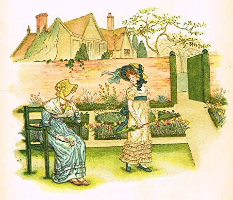Kate Greenaway's Little Ann - THE GAUDY FLOWER - Chromolithograph - 1883
