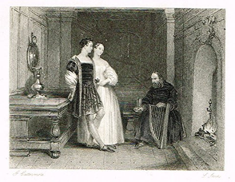 "Cattermole's 'Haddon Hall' - ""THE AGED MINSTREL"" - Miniature Steel Engraving - 1860"