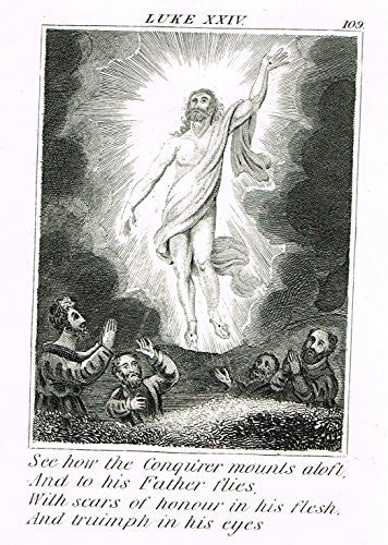 "Miller's Scripture History - ""ASSENSION OF JESUS TO HEAVEN"" - Copper Engraving - 1839"