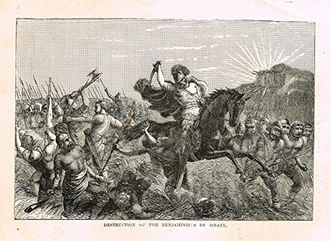 "Buel's Beautiful Story - ""DESTRUCTION OF THE BENJAMINIT:S BY ISRAEL"" - Woodcut - 1887"