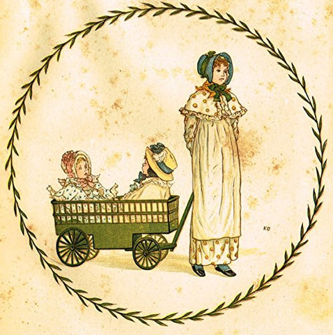 Kate Greenaway's Little Ann - GIRL PULLING WAGON - Chromolithograph - 1883