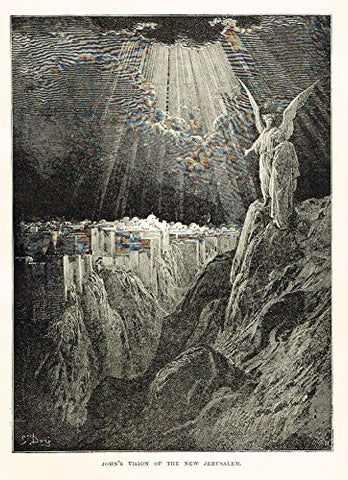 "Buel's Beautiful Story - ""JOHN'S VISION OF THE NEW JERUSALEM"" - Woodcut - 1887"