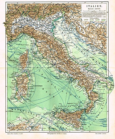 "Meyers' Lexicon Map - ""ITALY"" - Chromolithograph - 1913"