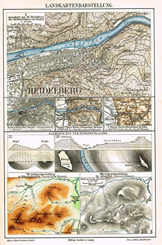 "Meyers' Lexicon Map - ""HEIDELBERG"" - Chromolithograph - 1913"