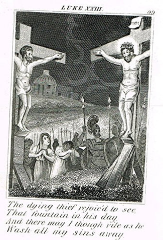 "Miller's Scripture History - ""THE DYING THIEF SPEAKS TO JESUS ON THE CROSS"" - Engraving - 1839"