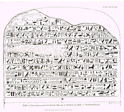 "Archaeologia's Antiquity - ""TABLET OF SAMNEH"" - Engraving - 1852"