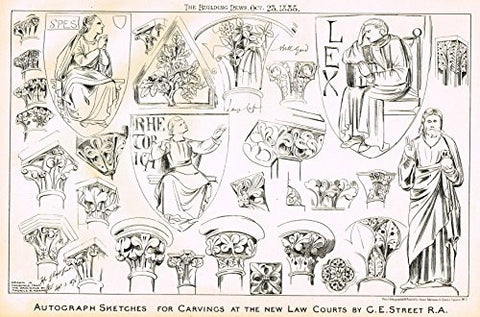 "Building News' - ""AUTOGRAPHED SKETCHES FOR CARVINGS"" - Lithograph - 1885"