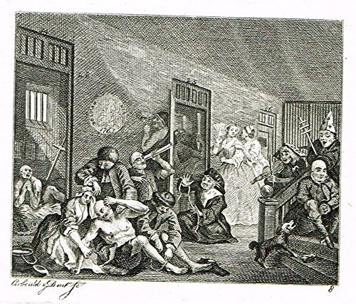 "Hogarth's Illustrated - ""THE RAKE'S PROGRESS - PLATE 8"" - Antique Engraving - 1813"