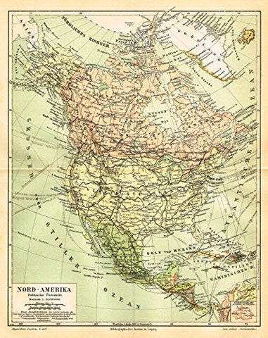 "Meyers' Lexicon Map - ""NORTH AMERICA - POLITICAL"" - Chromolithograph - 1913"