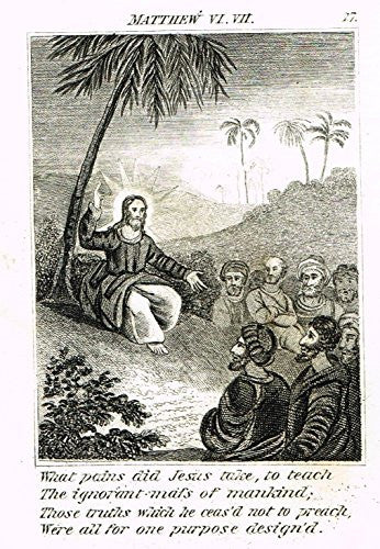 "Miller's Scripture History - ""JESUS TEACHES THE IGNORANT MASS"" - Copper Engraving - 1839"