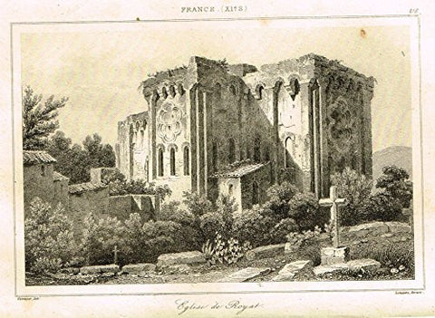 "Bas's France Encyclopedique - ""EGLISE DE ROYAT"" - Steel Engraving - 1841"